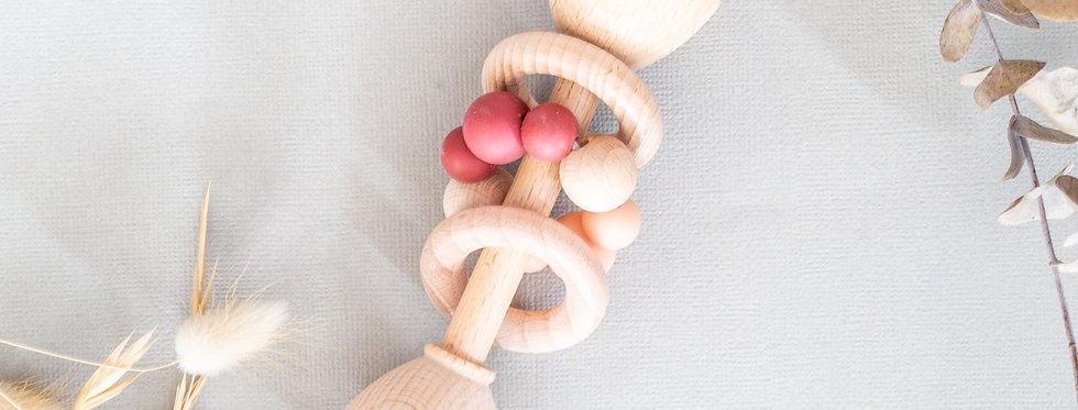 Natural Wooden Rattle - Peachy Pink