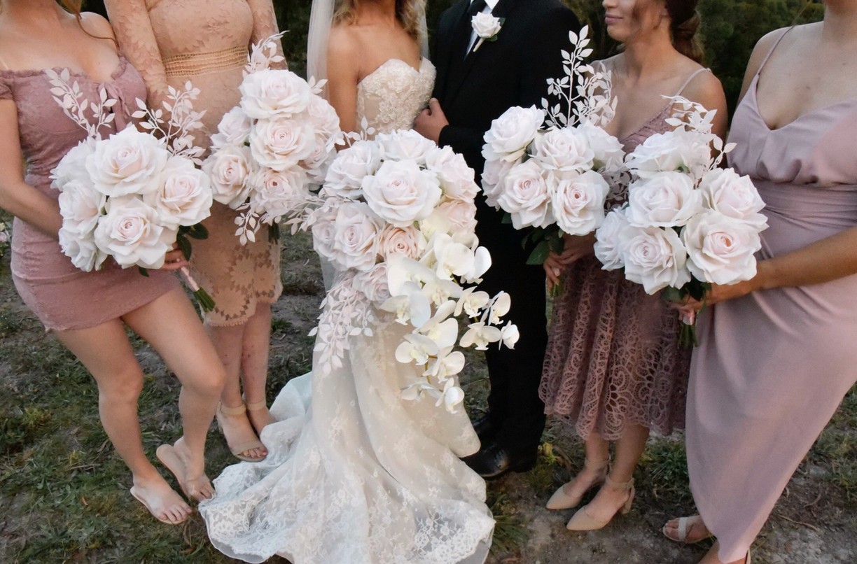 BLUSH ROSES & WHITE ORCHIDS BOUQUET HIRE