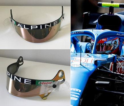 Race visor 2021 Esteban Ocon Alpine Testing Bahrain