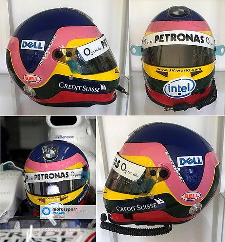Race helmet Bell HP3 carbon 2006 Jacques Villeneuve BMW Sauber Signed Full radio