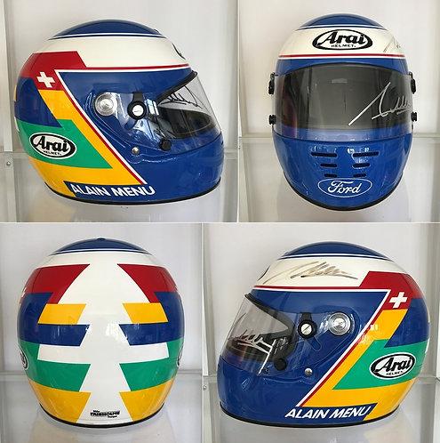 Original helmet Arai GP3 Alain Menu Signed Ford BTCC 2000 by Mike Fairholme