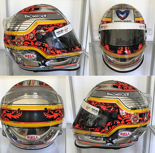 Race helmet Bell HP3 Jérôme D'Ambrosio Marussia Virgin 2011 Italian GP Signed