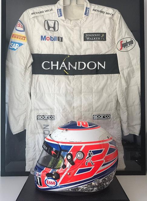 Jenson Button McLaren Honda 2016 British GP race helmet + race suit