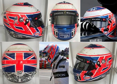 Race helmet Jenson Button McLaren 2016 British GP Matching photos