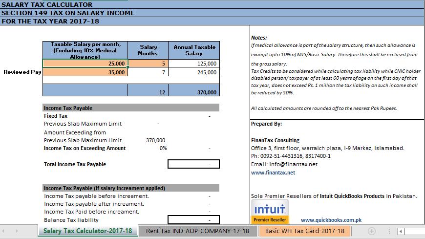 Tax Calculator Salary And Rent Pakistan 2017-18