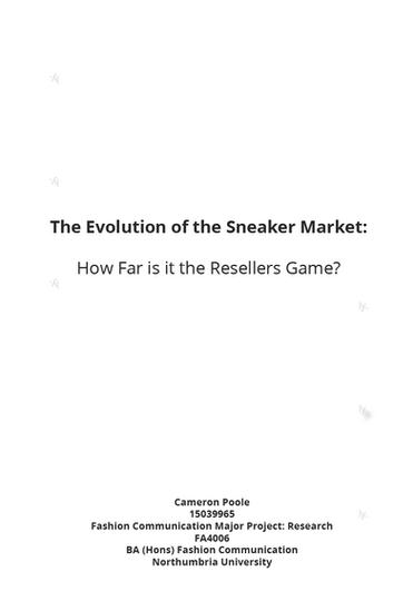 THE EVOLUTION OF THE SNEAKER MARKET
