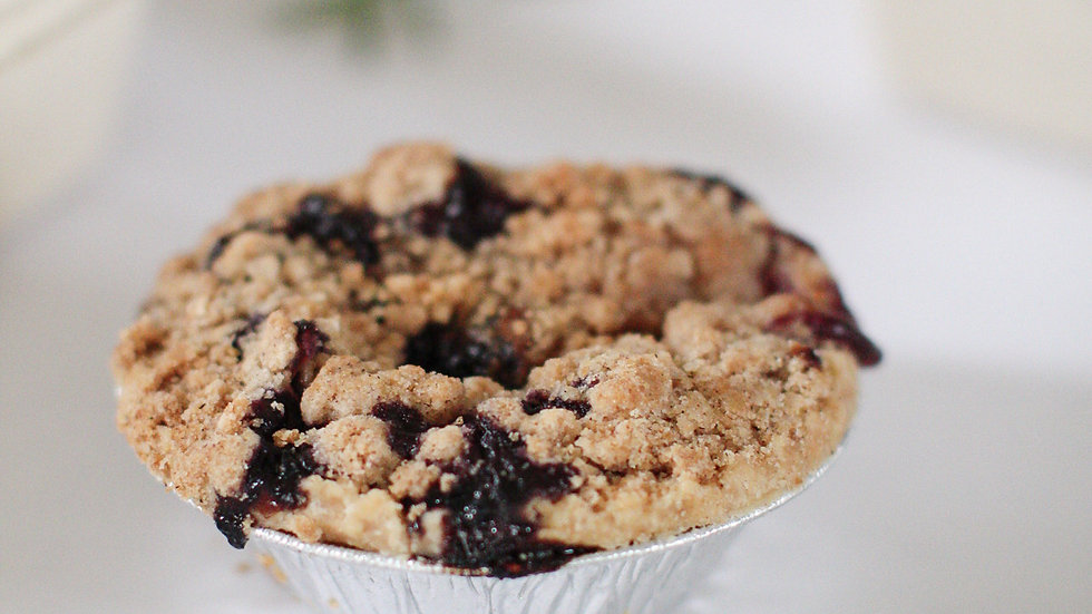 Individual Blueberry Peach Pies with Crumb Topping