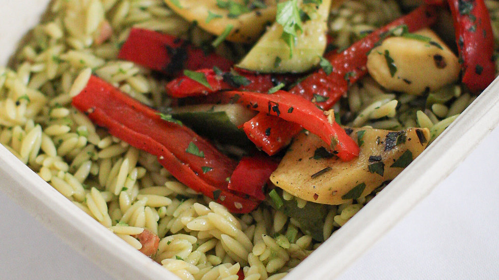 Grilled Summer Vegetable Orzo with Pesto