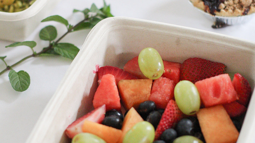 Fruit Salad with Cantaloupe, Strawberries, Blueberries, Peaches and Green Grapes