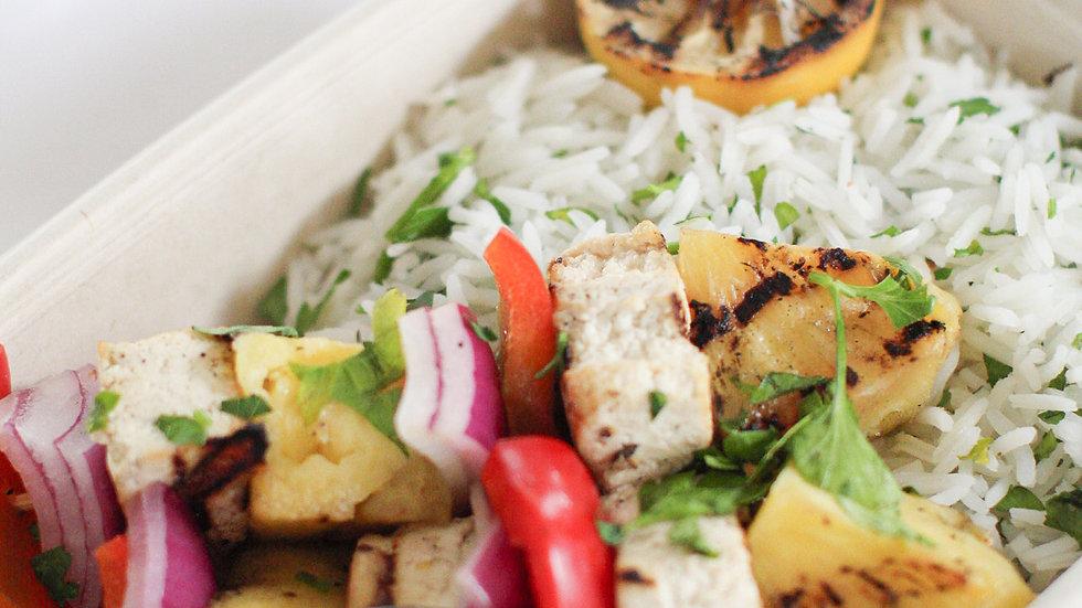 Grilled Tofu, Pineapple and Vegetable Skewers