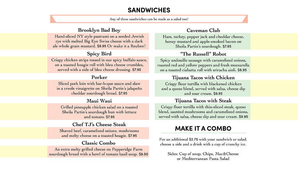 TJ's Sandwich Menu