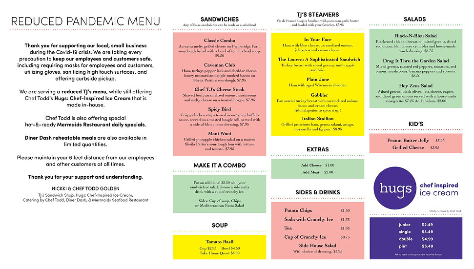 TJ's Pandemic Reduced Menu