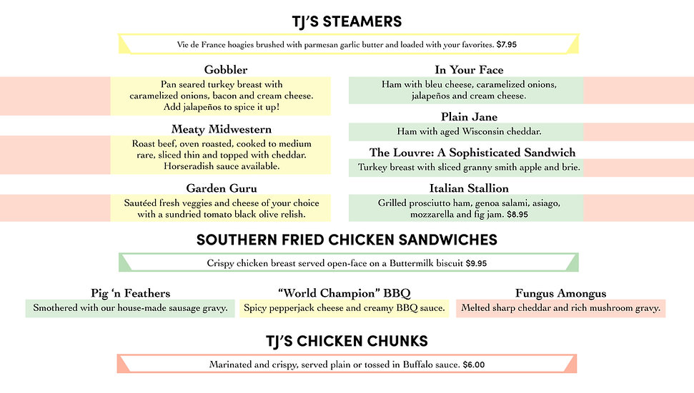 TJ's Steamers, Southern Fried Chicken, Chicken Chunks