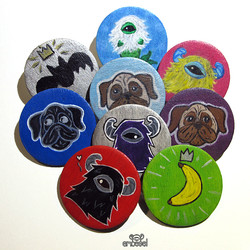 Handpainted Wood Brooches