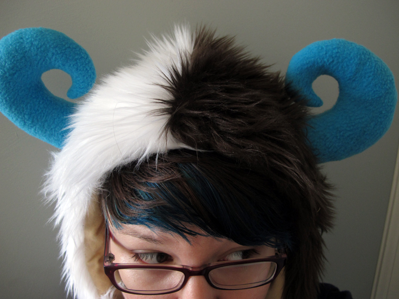 Brown, White, and Blue Monster Hat