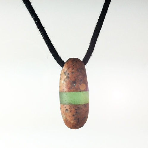 Maine Glass & Stone Fusion Necklace (Pink/Green) Granite