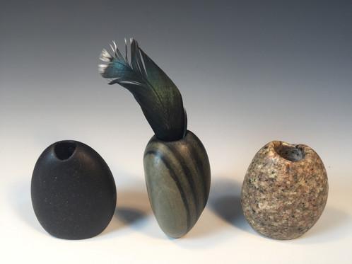 Three Medium Stone Vases