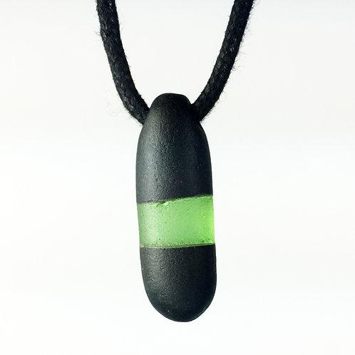 Maine Glass & Stone Necklace (Black/Green) Basalt