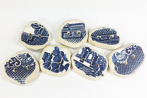 Ceramic Sherd Blue Buttons, Set of 7 (Beach Comber's Delight)