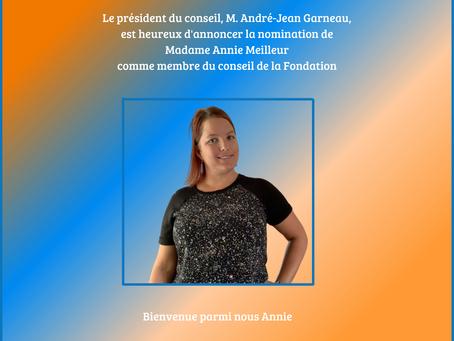 Nomination de Mme Annie Meilleur
