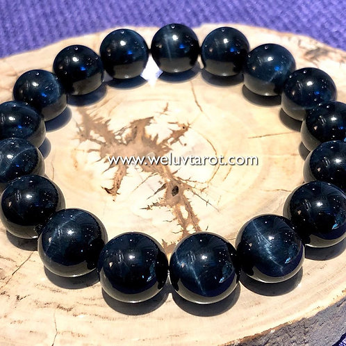 天然藍虎眼石手鏈 Natural Blue Tigers eye crystal bracelet 12mm
