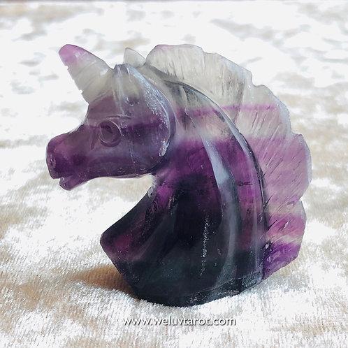 天然水晶螢石獨角獸 Natural fluorite unicorn