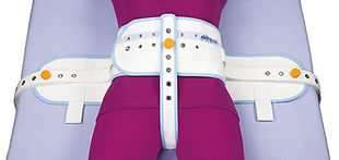 Abdominal safety belt with sewn perineal