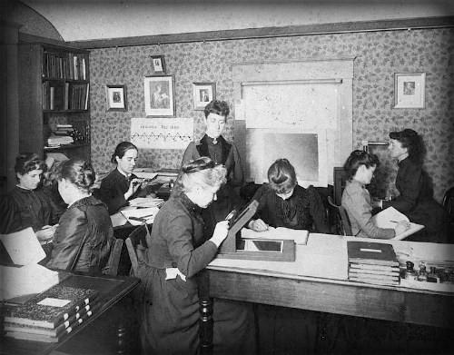 Williamina Fleming supervising Harvard College astronomers
