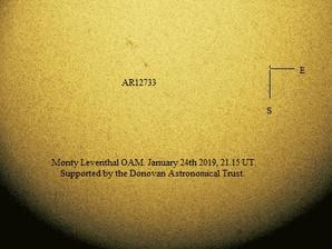 Solar Observations: Dec 2018, Jan & Feb 2019