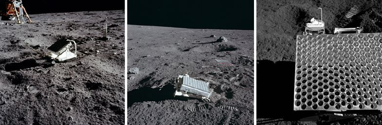 Lunar ranging reflectors (credit NASA)