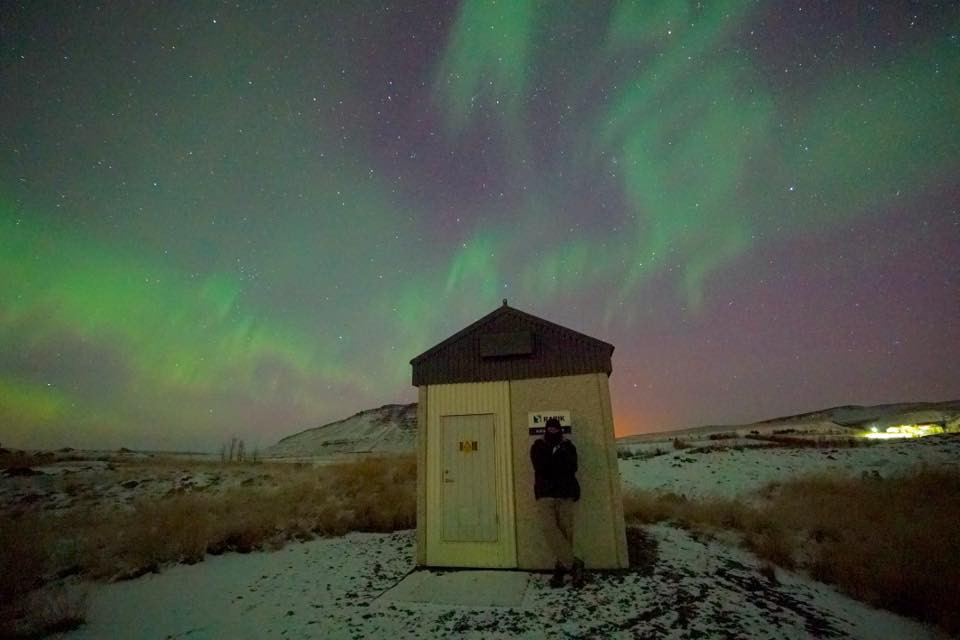 Geoffrey Wyatt with the aurora borealis