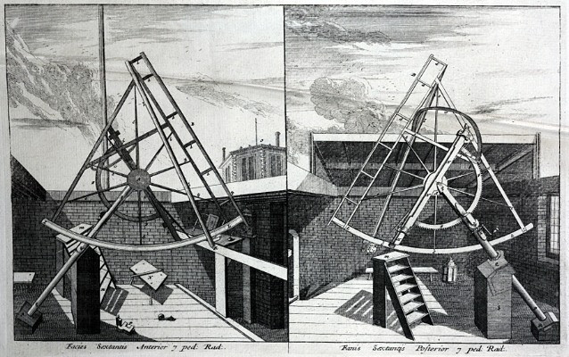 Astronomical instruments used by Flamsteed at Greenwich, as depicted in: John Flamsteed. Historiae coelestis Britannicae. Londini: typis H. Meere, 1725 [Rare Books Collection FOL. QB7 FLA]