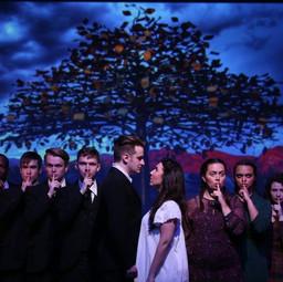 Wendla in the promo photo for Spring Awakening with Theatre Nebula.