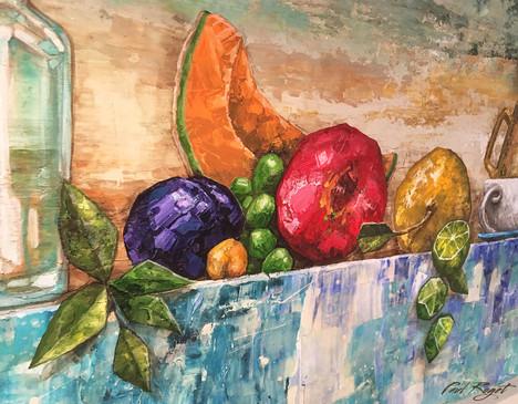 Fructus et Vegetabilis Sedens - close up
