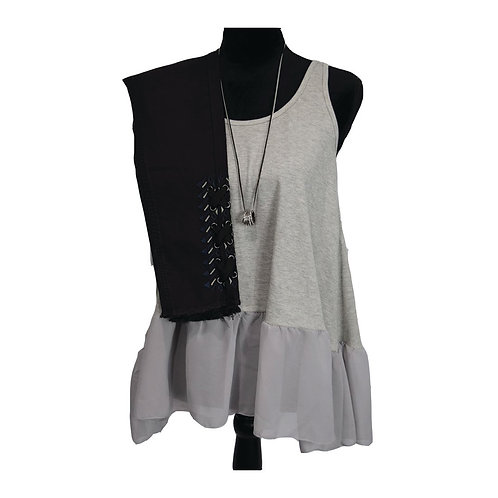 Grey tank with sheer ruffle detail bottom (mocha is sold out)