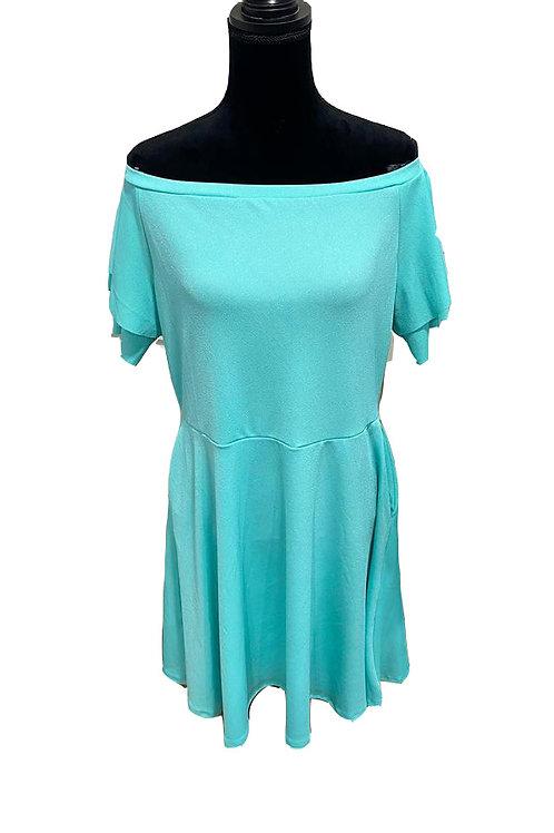 junior plus turquoise off shoulder dress