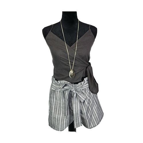 charcoal, self tie, linen blend, wrap top