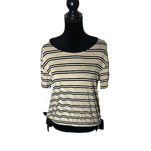 Oatmeal & black striped short sleeve with bows at side on hem