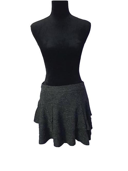 charcoal layered, rib knit skirt