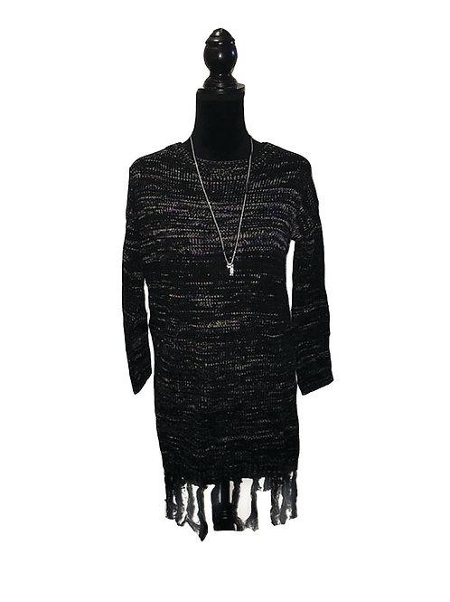 Black multi color, fringed hem sweater dress