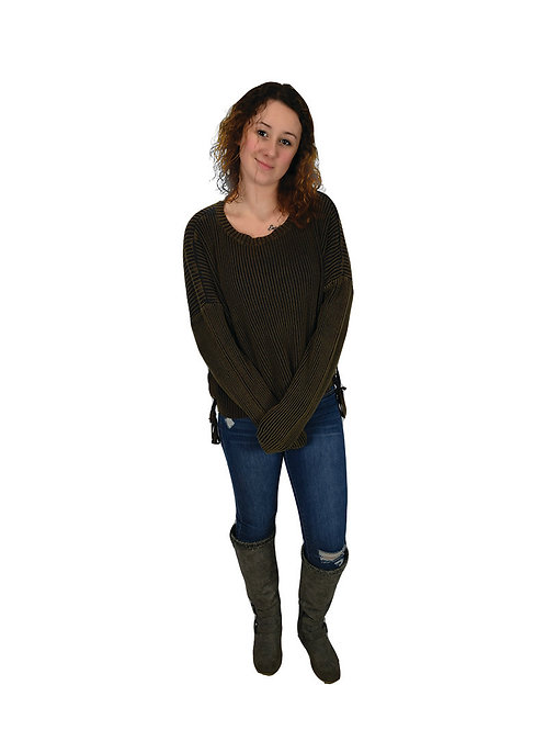 ash/brown long sleeve sweater with lace up sides