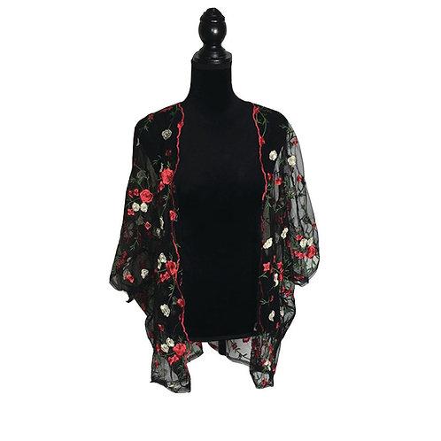 Plus size black, sheer, embroidered kimono