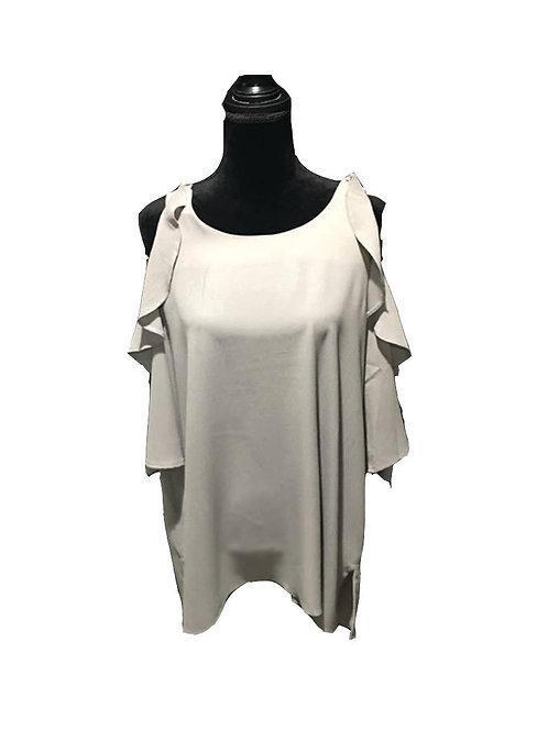 Plus size, light grey, mid length sleeve, cold shoulder top