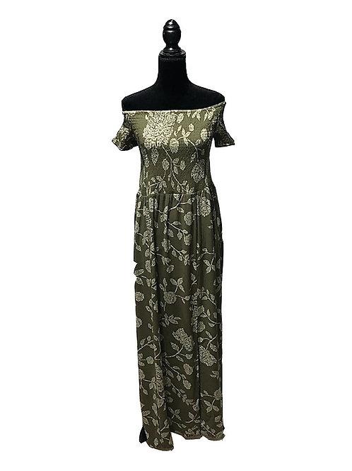 Plus size, olive print, off the shoulder maxi dress
