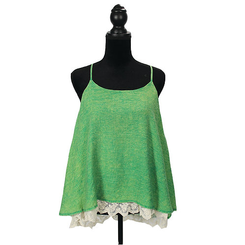 green racerback tank with white lace underlay