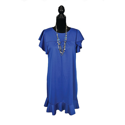 royal blue, straight silhouette ruffle sleeve dress