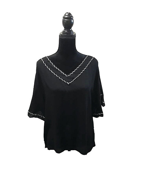 black bell sleeve, v neck top with white embroidery detail