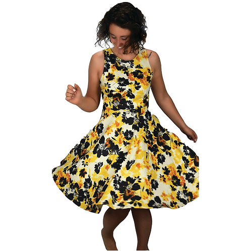 yellow/black/ivory floral knit dress