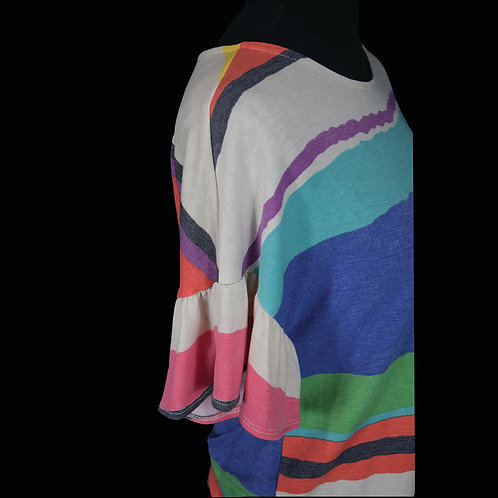 multi colored stripe short sleeve w/ ruffle sleeve & tie waist