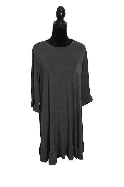 charcoal, mid length sleeve, shift dress